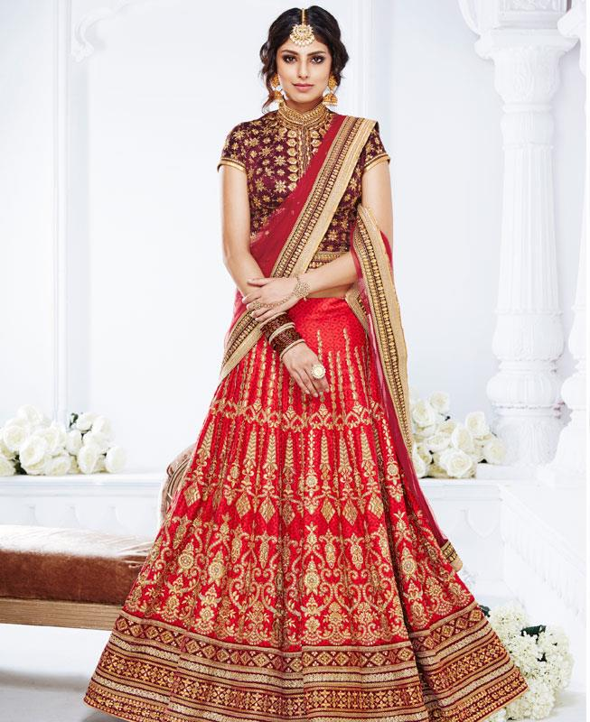 Embroidered Silk Pink Long choli Lehenga Choli Ghagra