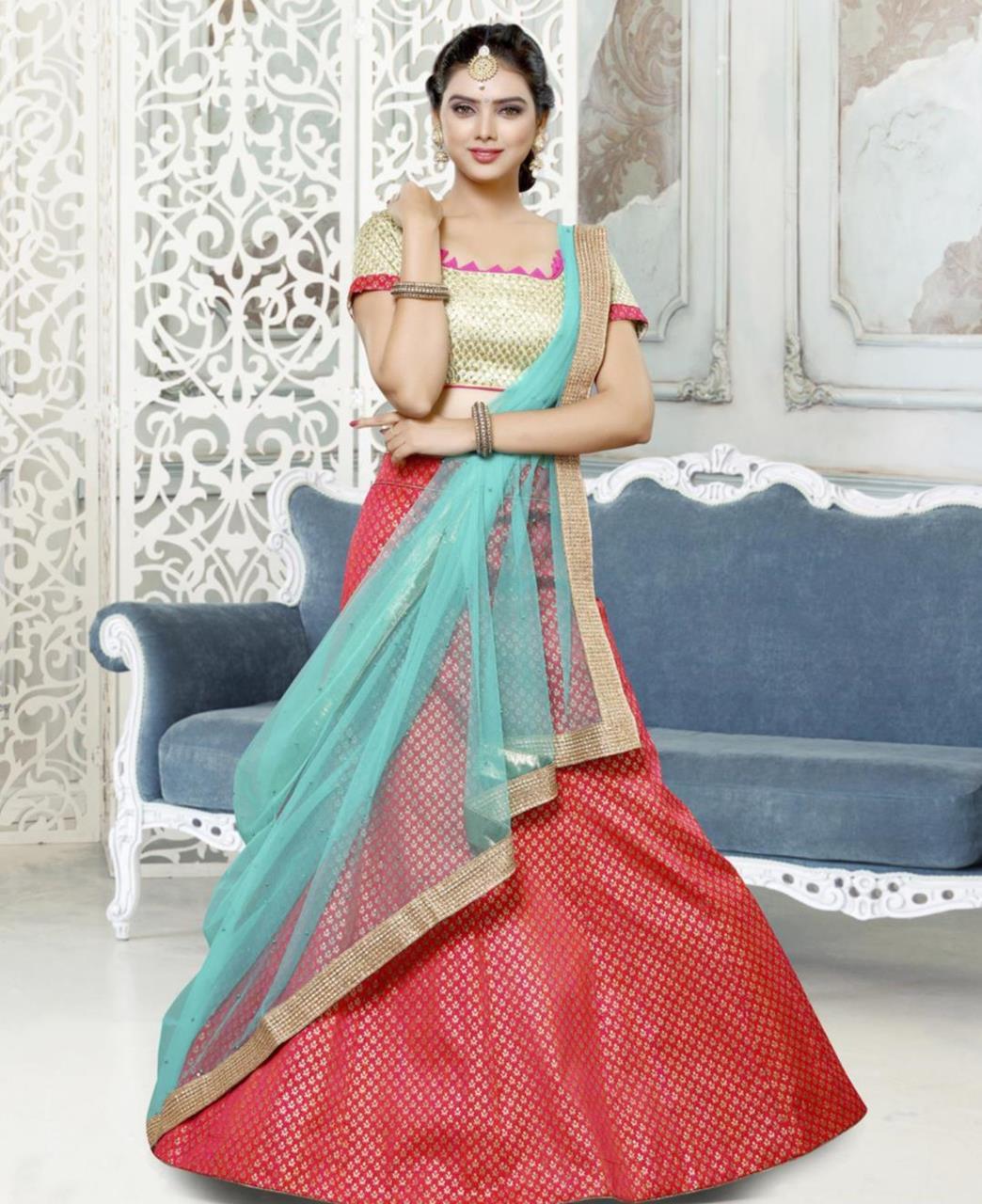 Printed Bangalore Silk Red Circular Lehenga Choli