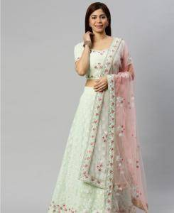 Embroidered Georgette Lehenga in Green