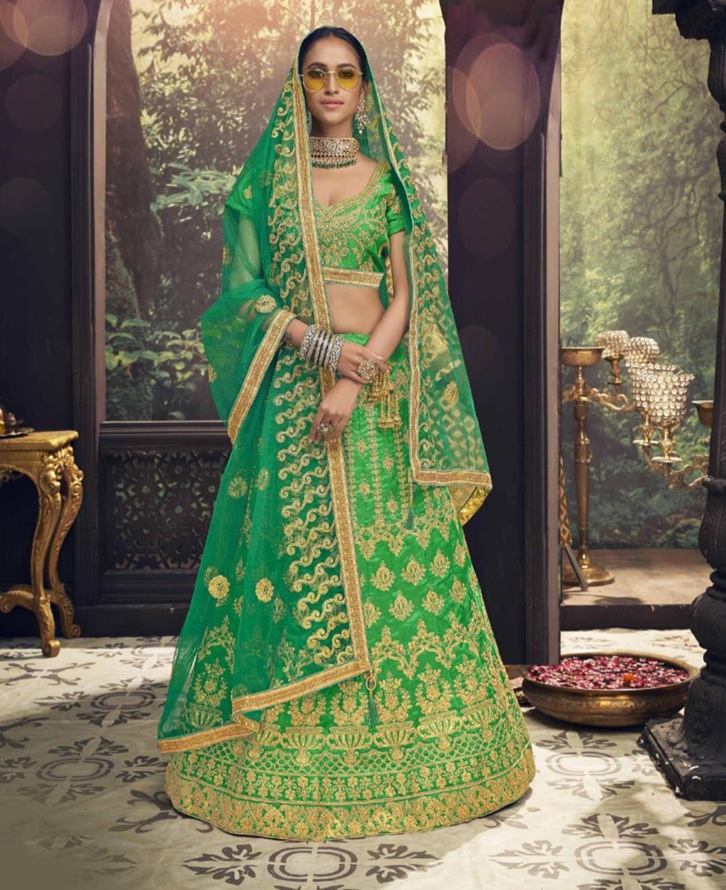 Embroidered Bangalore Silk Green Circular Lehenga Choli