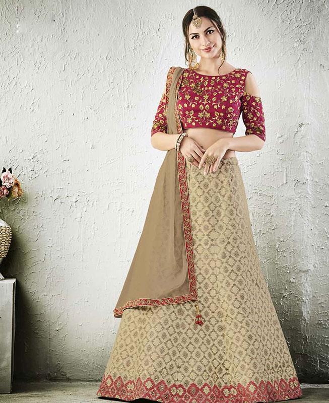 Embroidered Raw Silk Pink Circular Lehenga Choli Ghagra