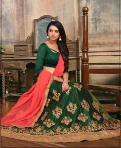 Embroidered Satin OLIVE Circular Lehenga Choli