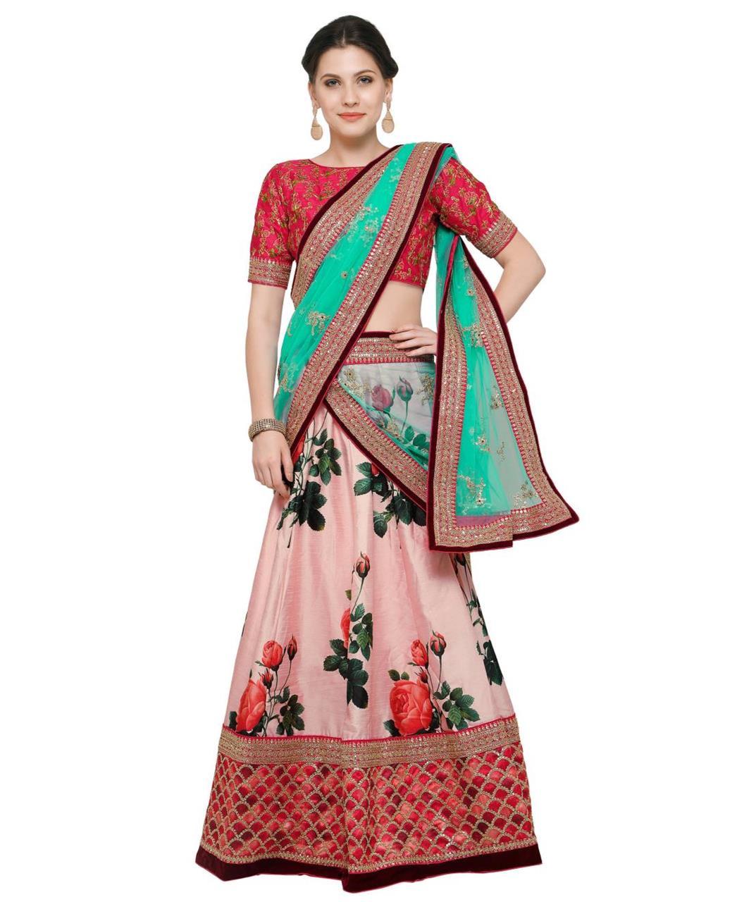 Embroidered Bangalore Silk Pink Long choli Lehenga Choli Ghagra