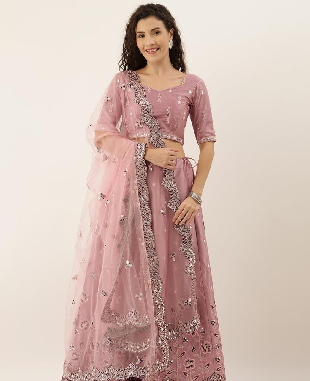 Thread Satin Lehenga in Rose Pink