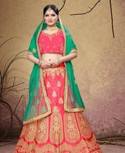 Embroidered Silk Lehenga in Pink
