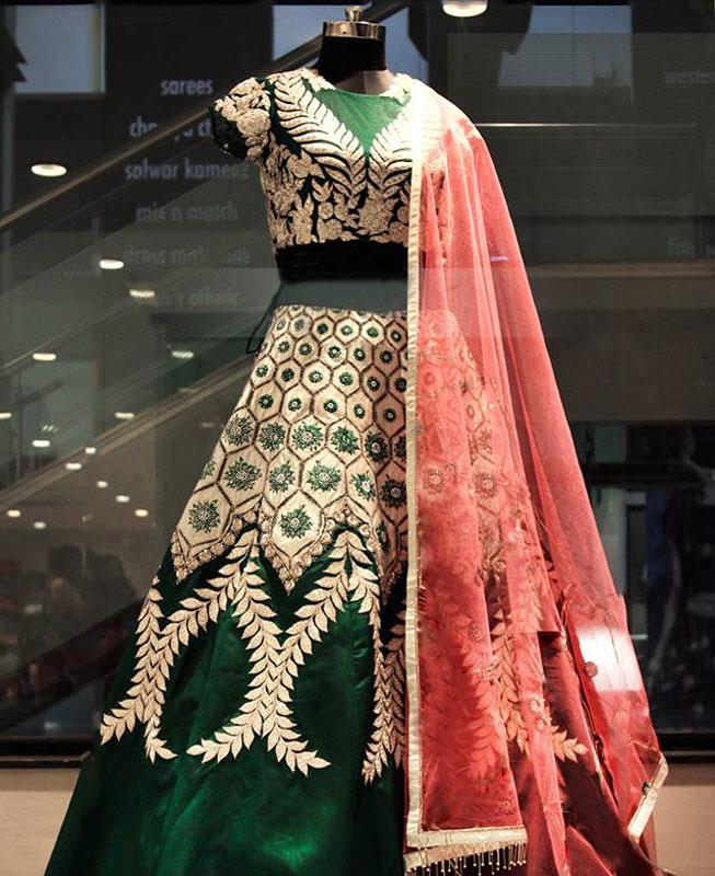 Embroidered Velvet Green Circular Lehenga Choli Ghagra