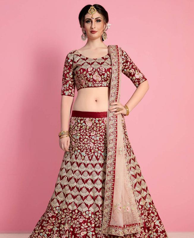 Embroidered Velvet Maroon Fish Cut Lehenga Choli