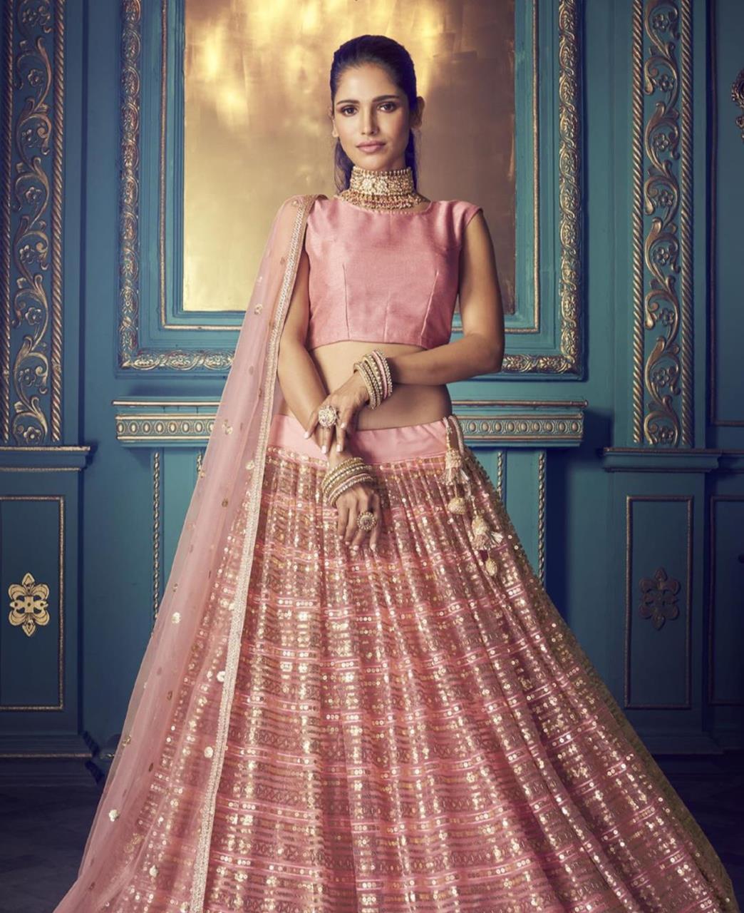 Sequins Net Lehenga in Light Pink