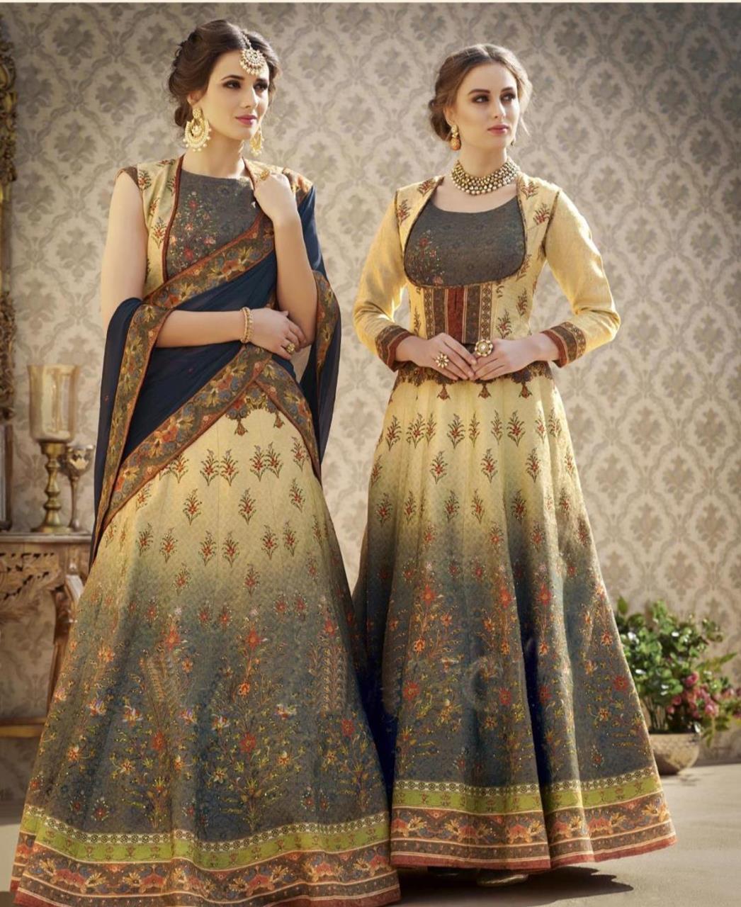 a1ea1719fe Printed Banarasi Silk Cream Long choli Lehenga Choli Ghagra