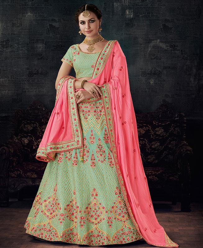 Zari Silk Green Circular Lehenga Choli Ghagra