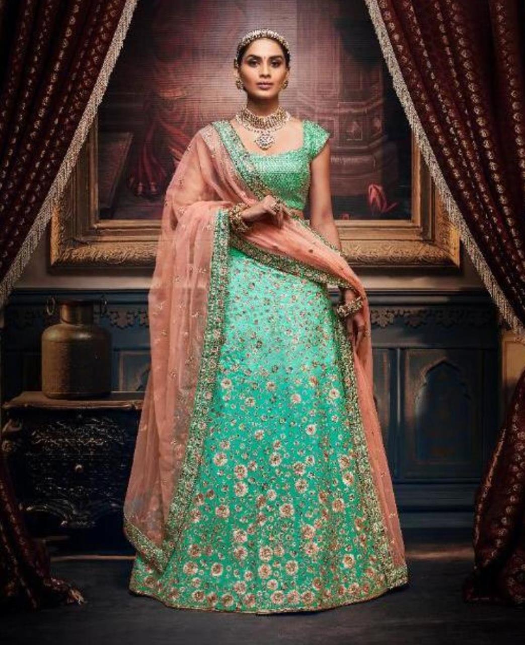 HandWorked Silk Lehenga in Turquoise