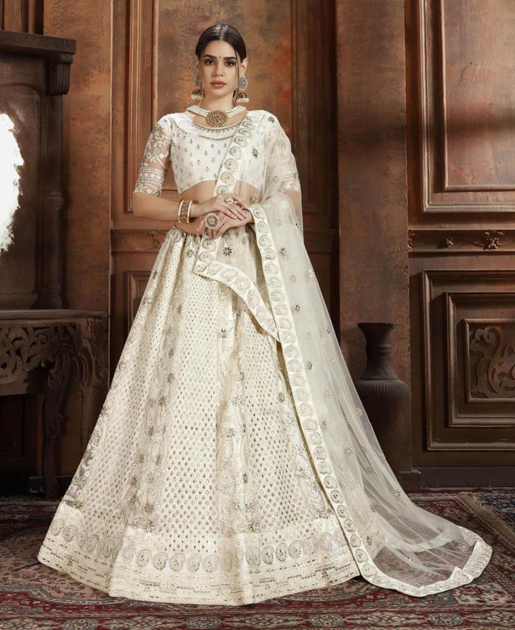 Embroidered Net White Circular Lehenga Choli