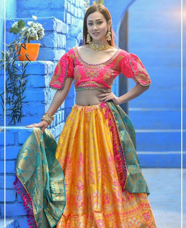 Resham Silk Lehenga in Pink