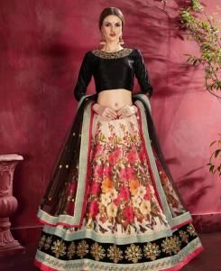 Sequins Silk Lehenga in Black