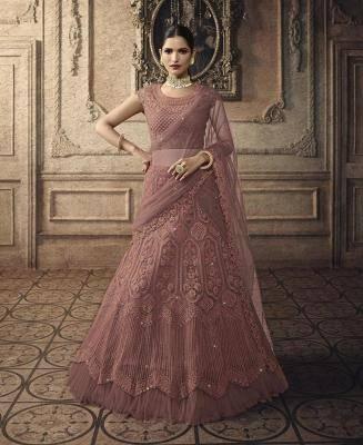Embroidered Net Pink Circular Lehenga Choli