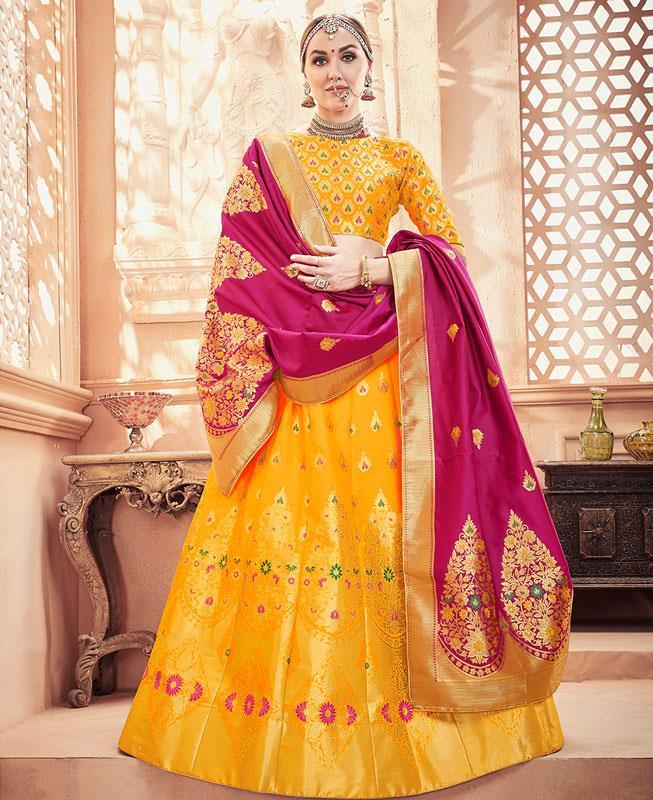 Silk Lehenga in Yellow