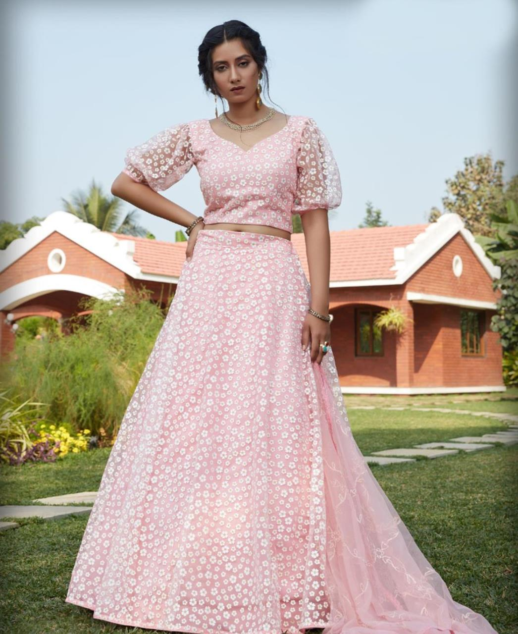 Sequins Net Lehenga in Pink