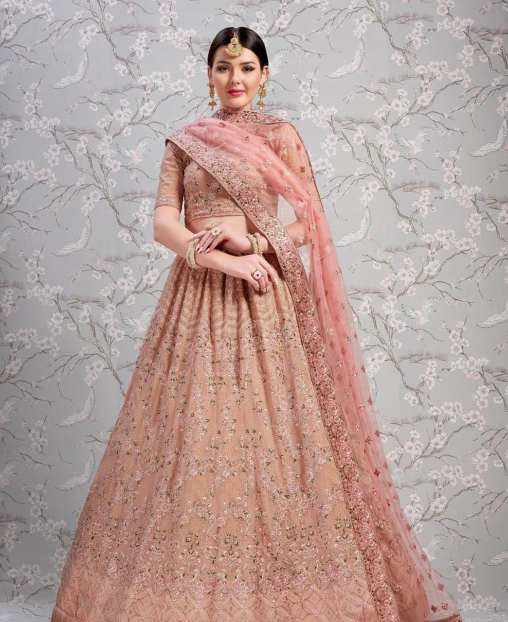 Thread Georgette Lehenga in Rose Taupe