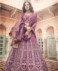 Embroidered Art Silk Purple Circular Lehenga Choli