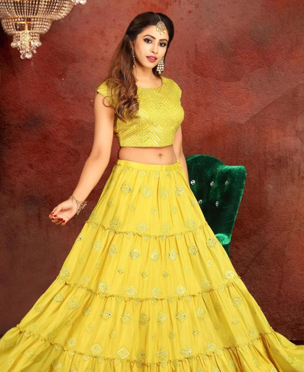 Embroidered Georgette Lehenga in Yellow