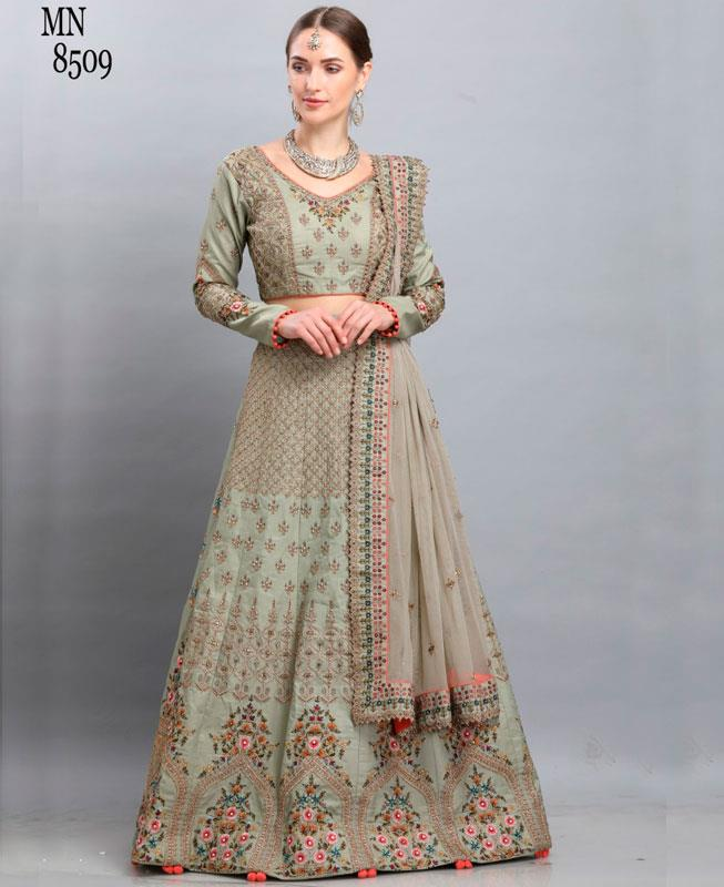 Resham Silk Green Circular Lehenga Choli
