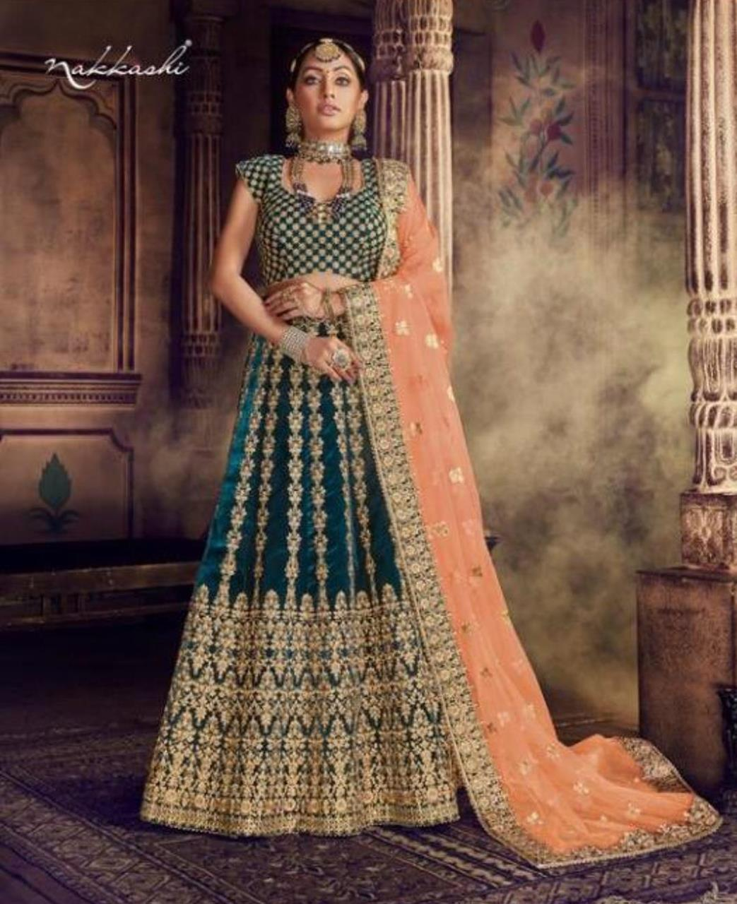 Stone Work Net Lehenga in More Peach