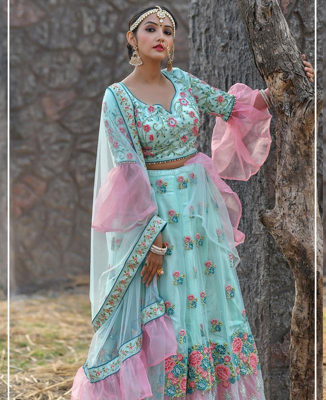 Net Lehenga in Turquoise