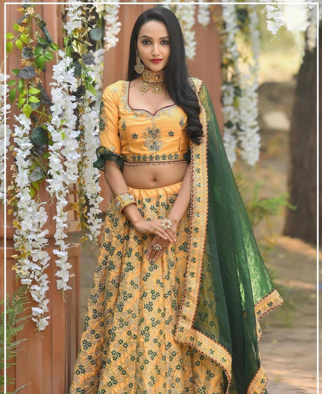 Resham Silk Lehenga in Yellow