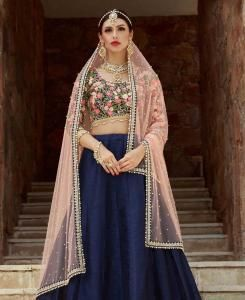 Embroidered Silk Lehenga in Navy Blue