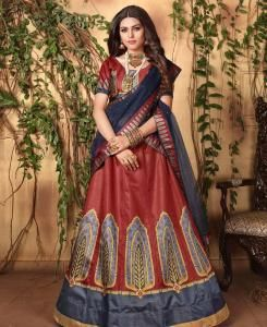 Printed Satin Lehenga in Maroon