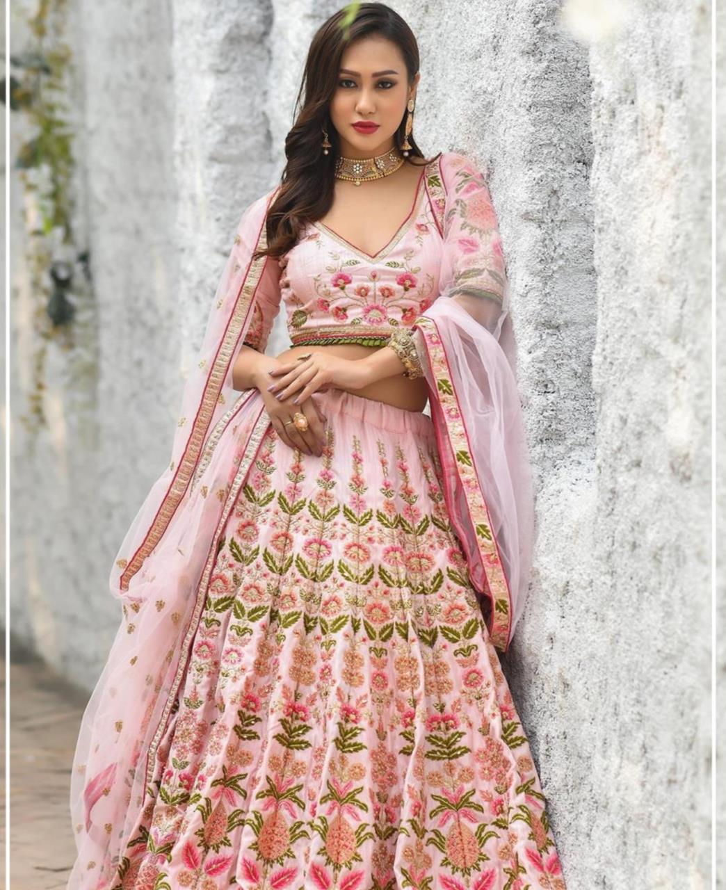 Resham Silk Lehenga in Baby Pink