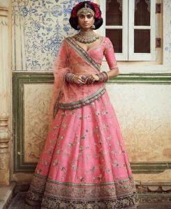 Embroidered Art Silk Pink Circular Lehenga Choli