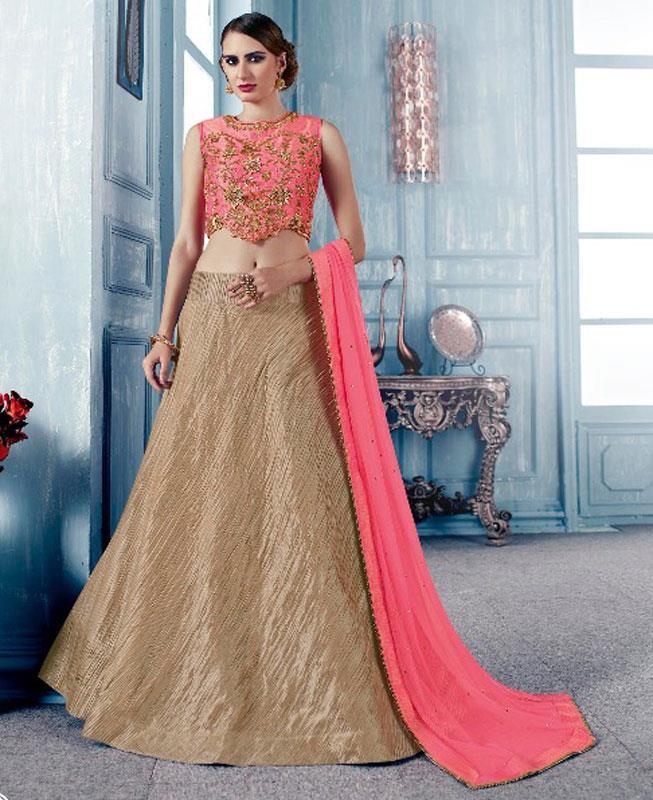 Plain Silk Pink Circular Lehenga Choli Ghagra