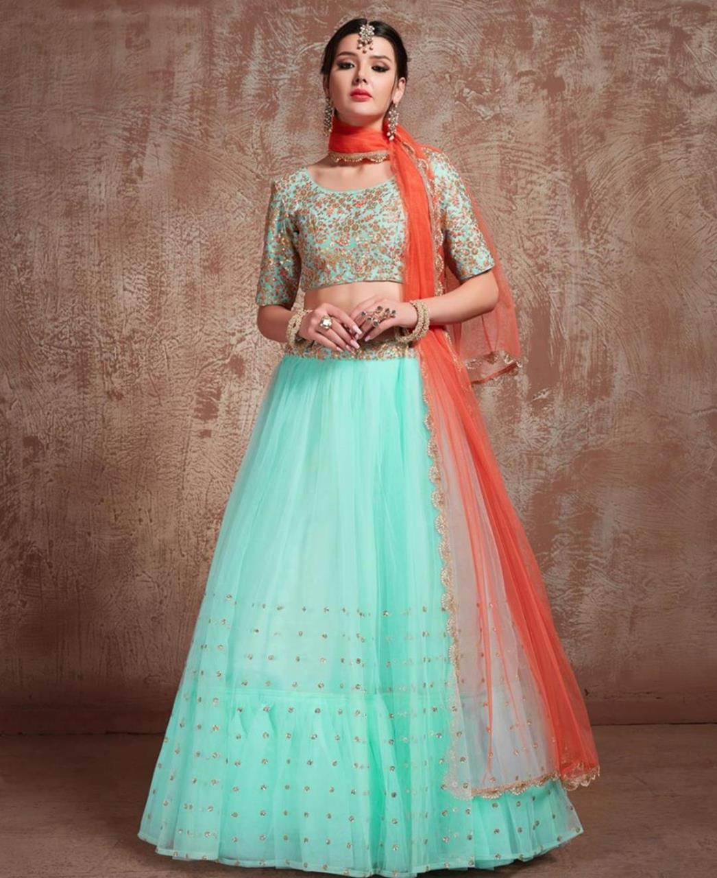 Sequins Art Silk SKYBLUE Circular Lehenga Choli