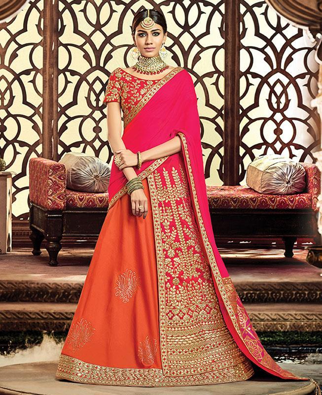Embroidered Silk Pink A Line Lehenga Choli Ghagra