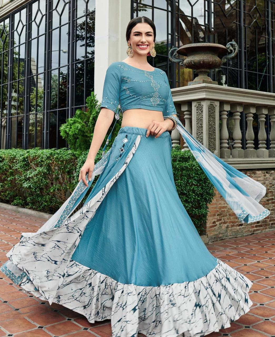 Embroidered Cotton Lehenga in Light Blue