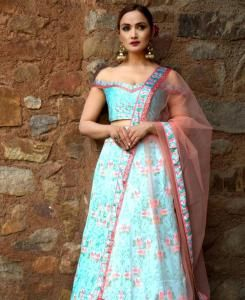 Printed Satin Lehenga in Sky Blue