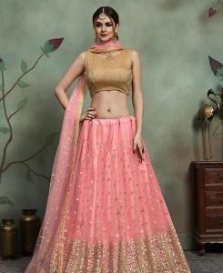 Sequins Net Pink Circular Lehenga Choli