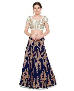 Embroidered Velvet Blue Long choli Lehenga Choli Ghagra