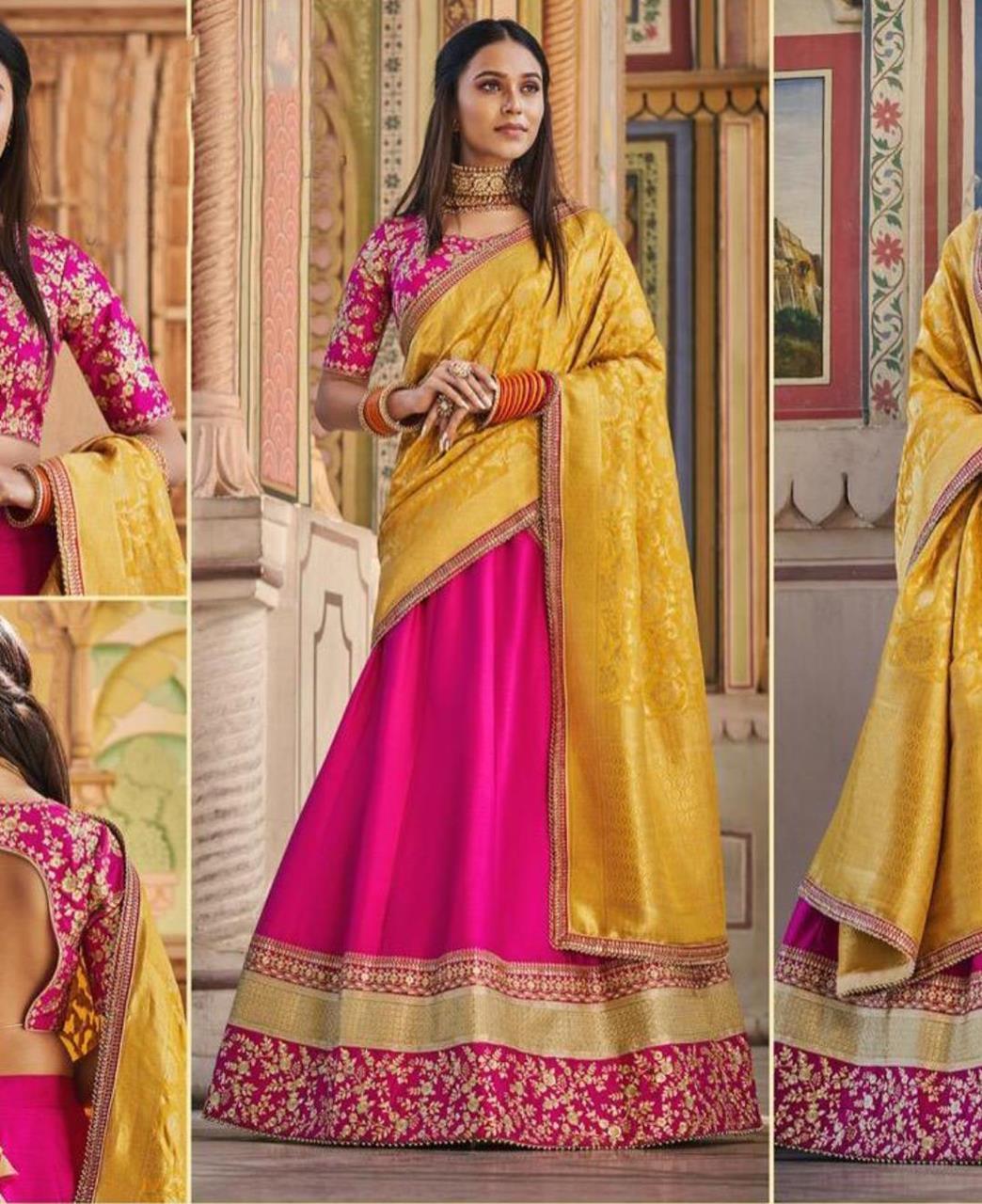 HandWorked Silk Lehenga in Rani Pink
