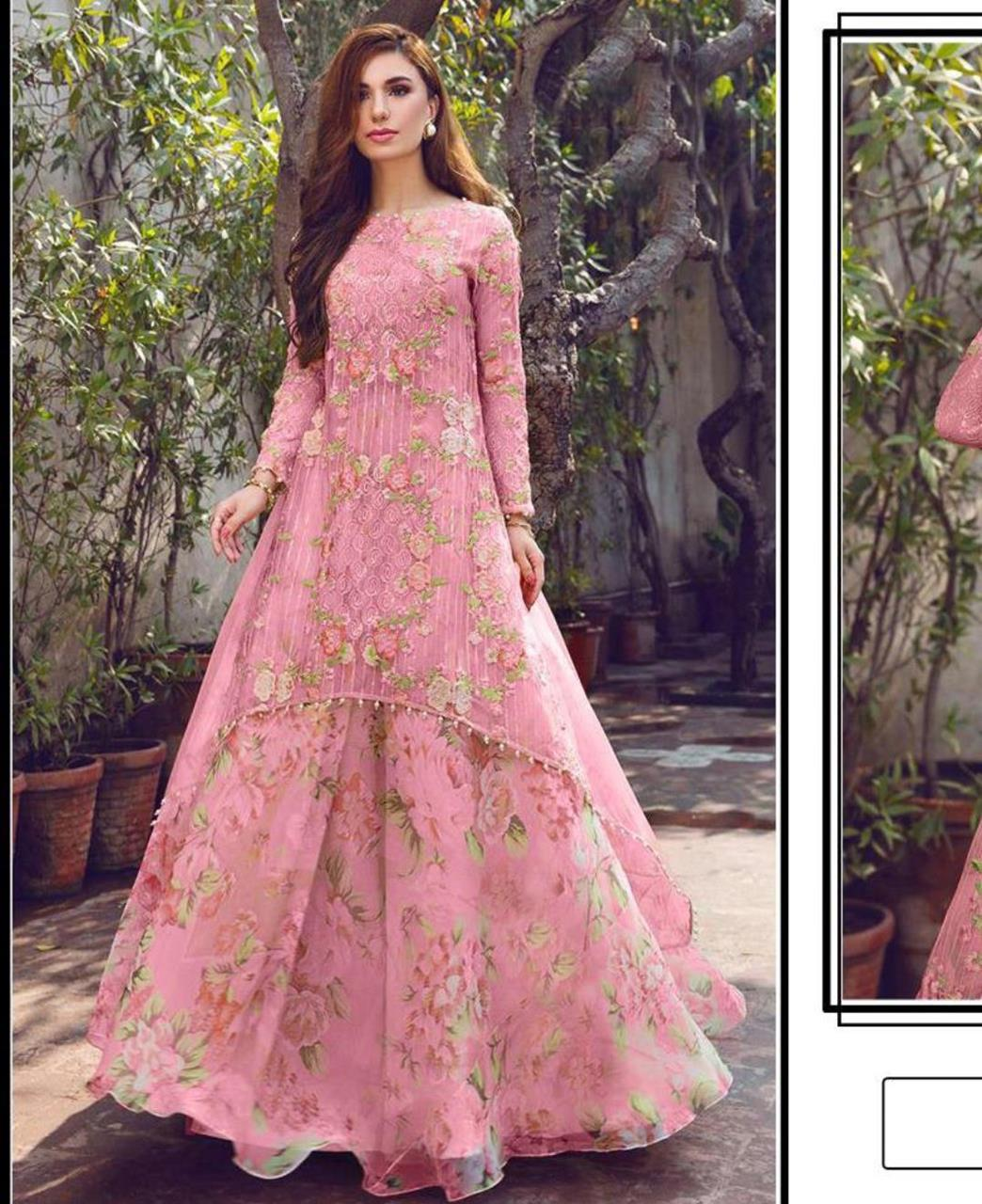 Printed Georgette Lehenga in Pink