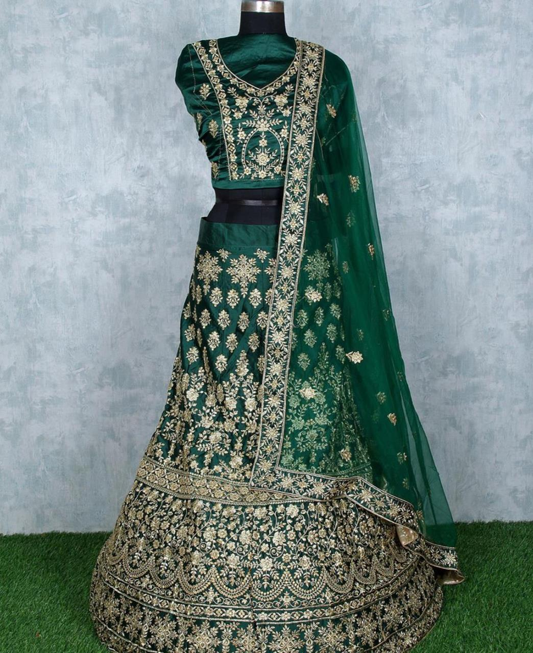 Stone Work Satin Lehenga in Rama Green
