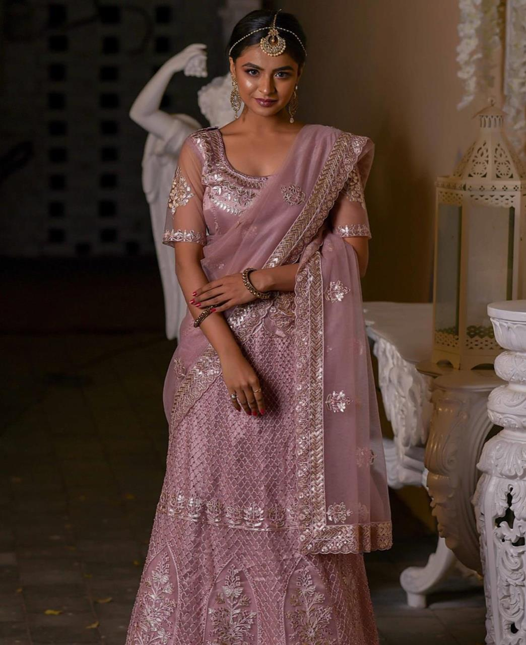 Embroidered Satin Lehenga in Old Rose Pink