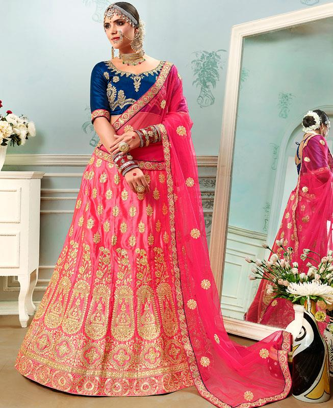 Embroidered Satin Pink Circular Lehenga Choli