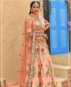 Resham Silk Lehenga in Peach