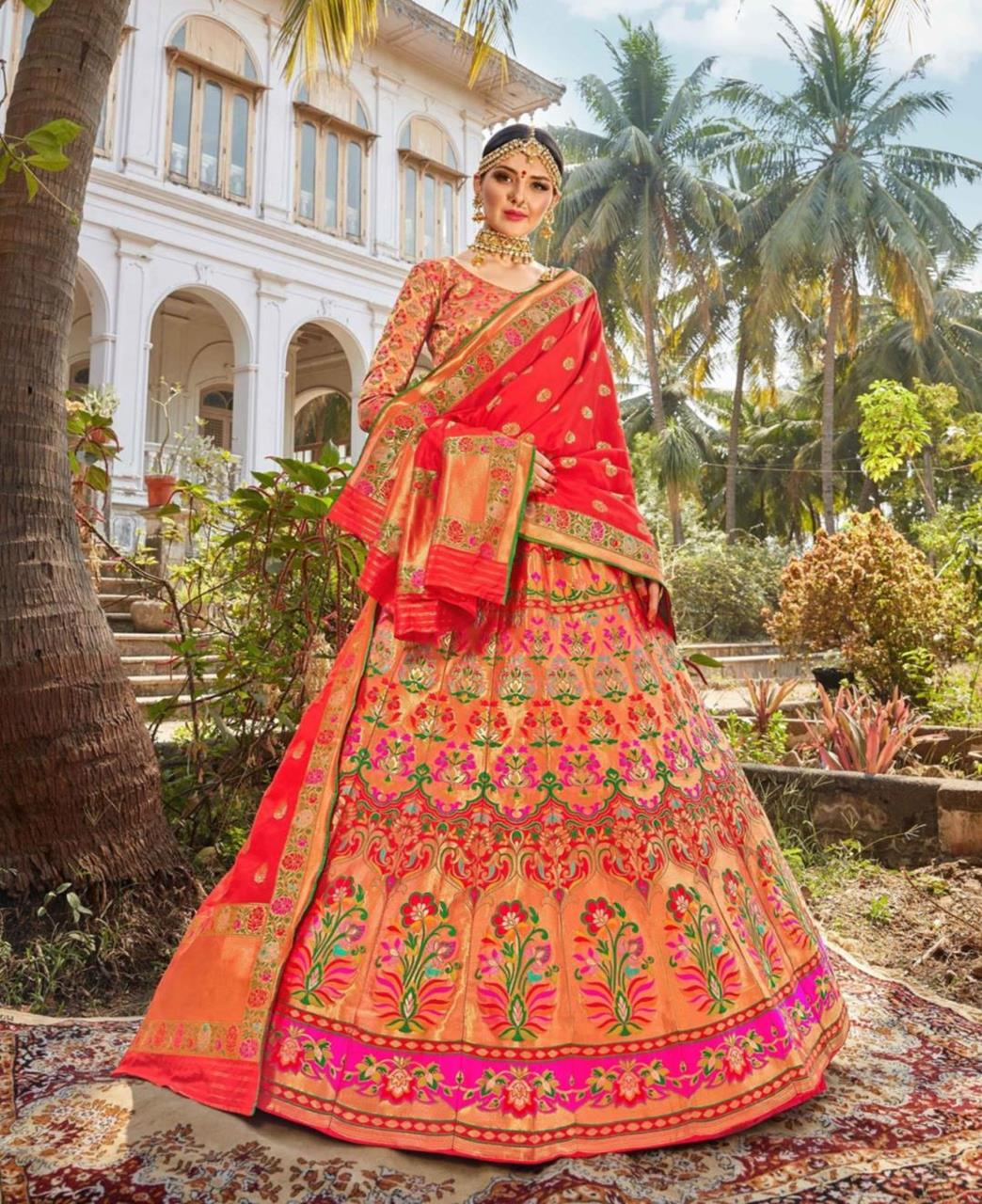 Silk Lehenga in Orange