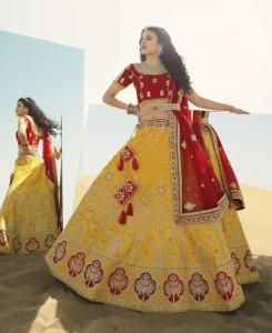 Stone Work Silk Lehenga in Red