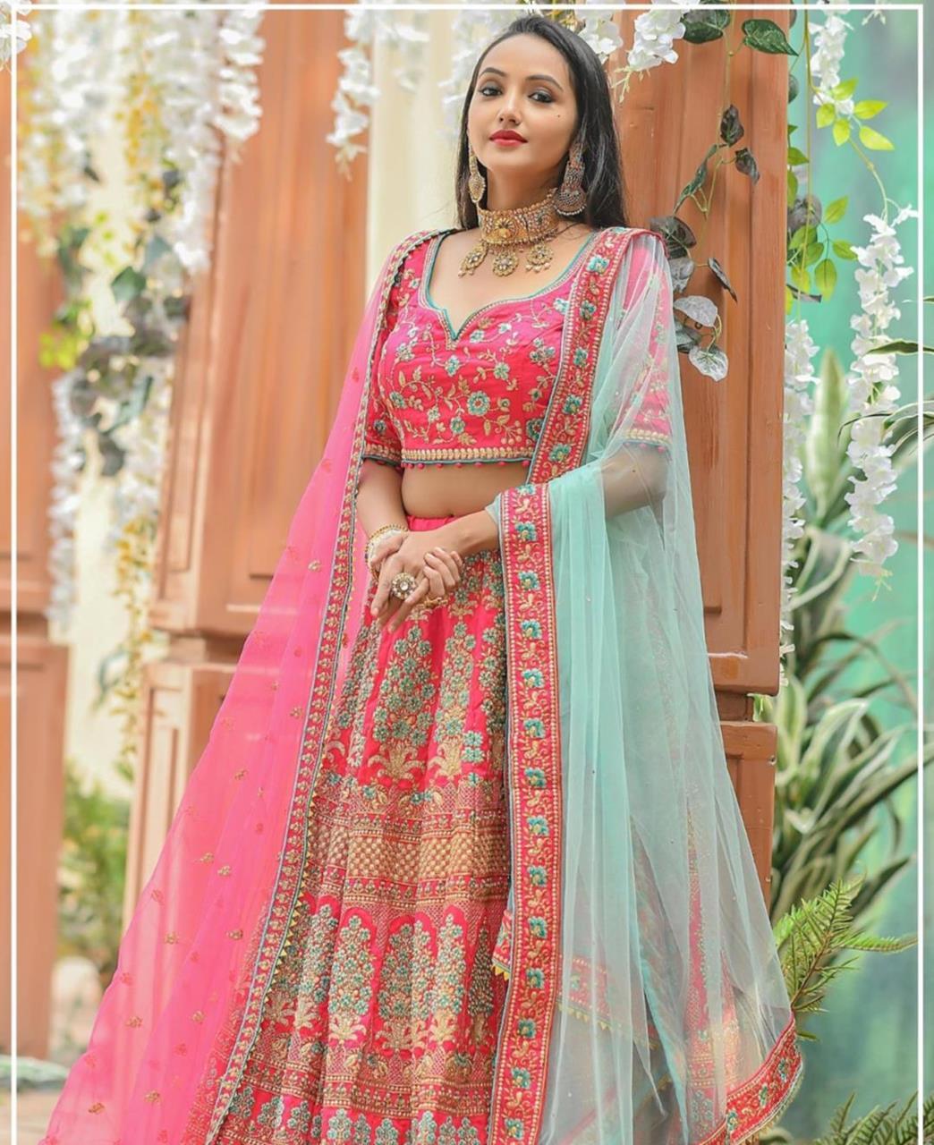 Resham Silk Lehenga in Rani Pink