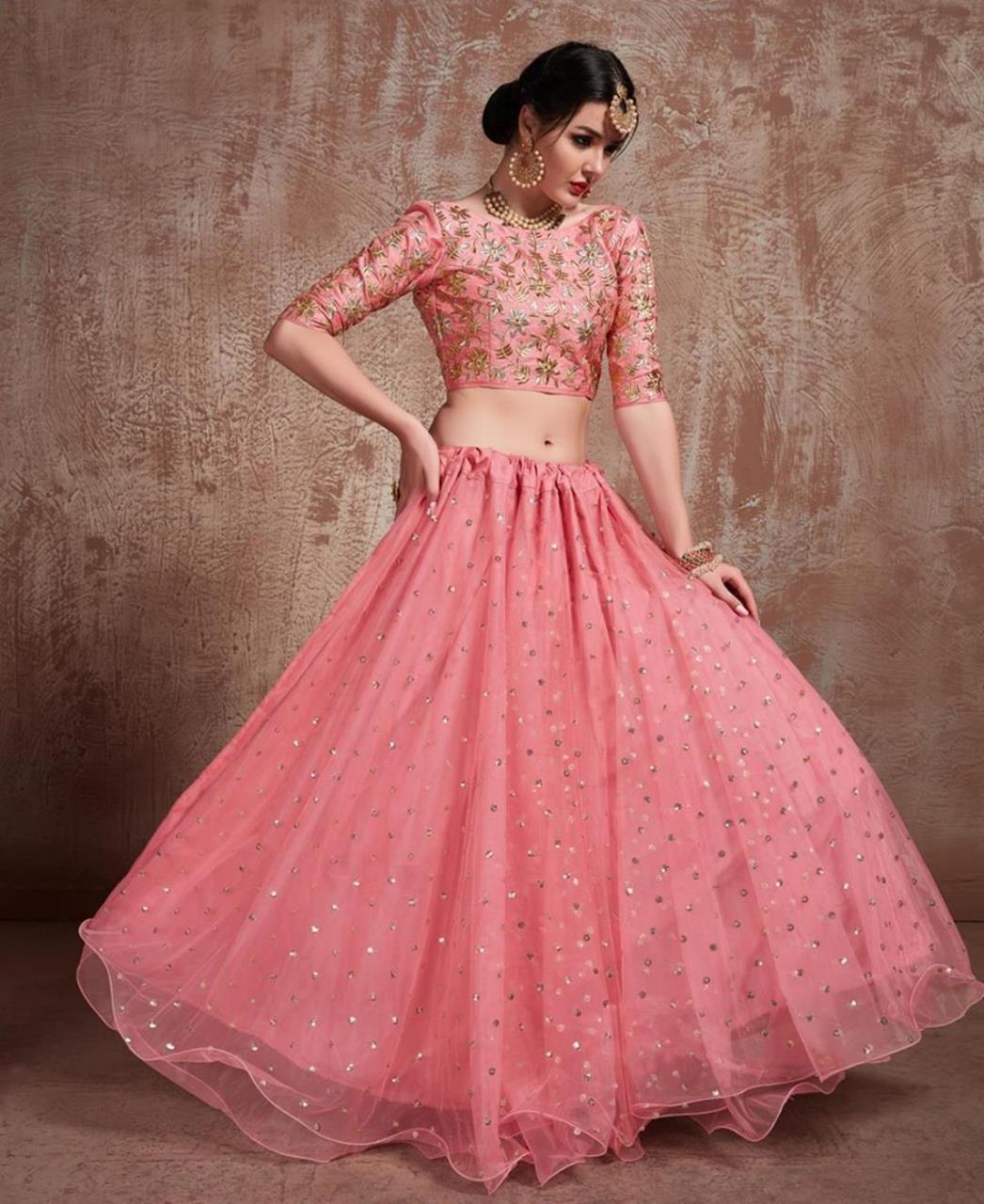 Sequins Art Silk Pink Circular Lehenga Choli