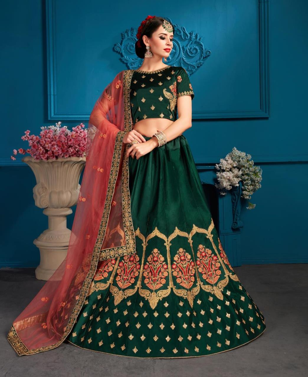 Embroidered Satin Green Circular Lehenga Choli Ghagra